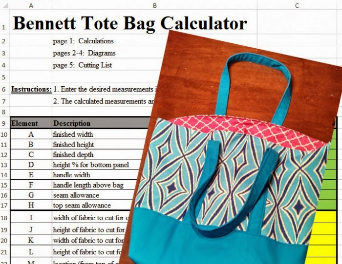 Sew ANY SIZE lined canvas tote from The Inspired Wren with this brilliant calculator from Bennett Planet | The Inspired Wren