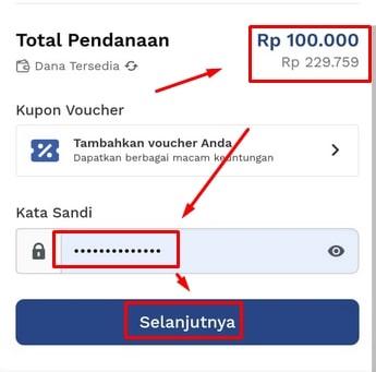 Rincian transaksi pendanaan