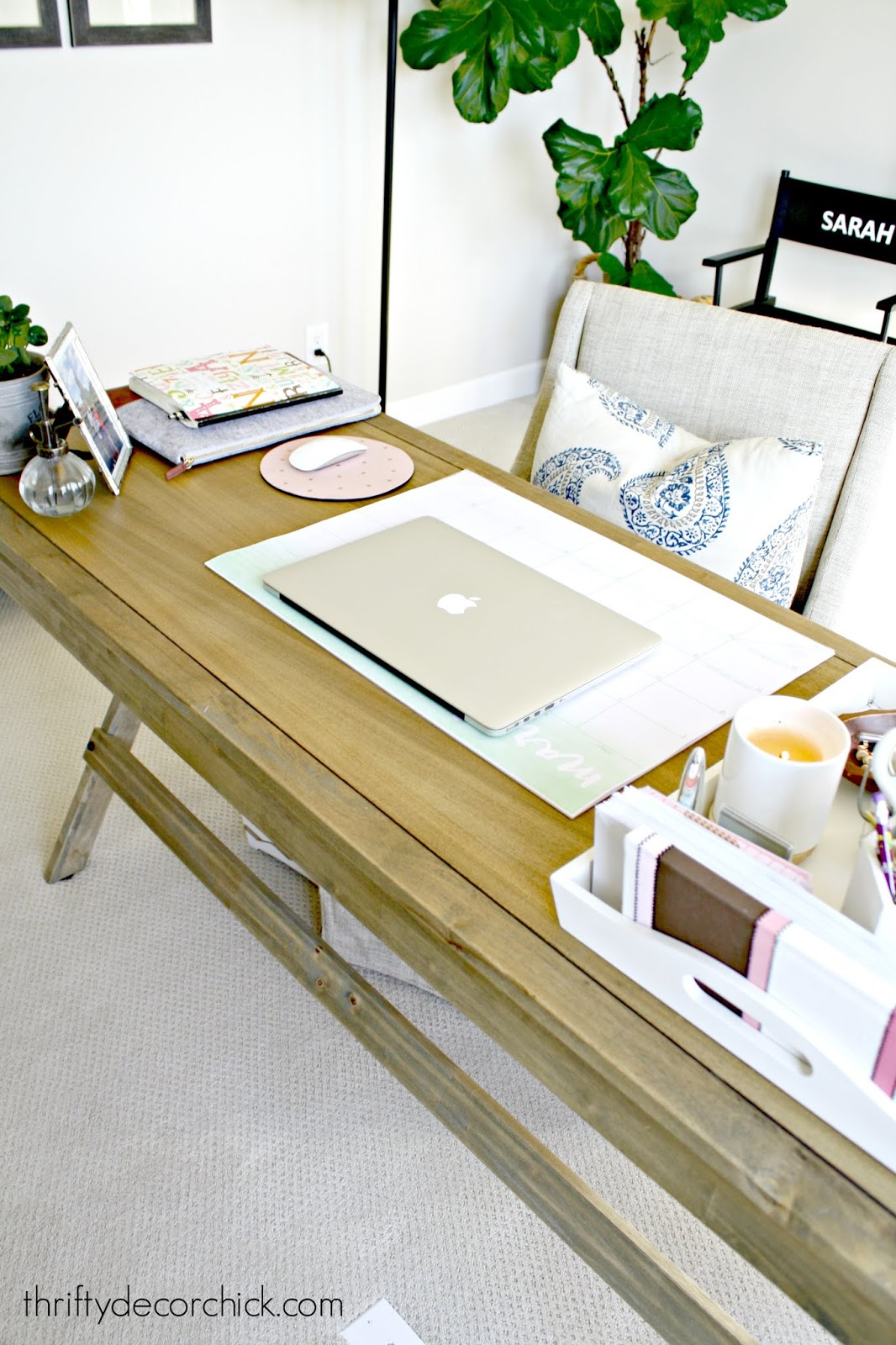 World market wood desk organization