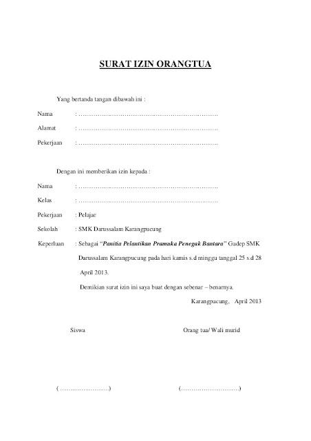 Contoh Surat Izin Orang Tua (via: slideshare.net)