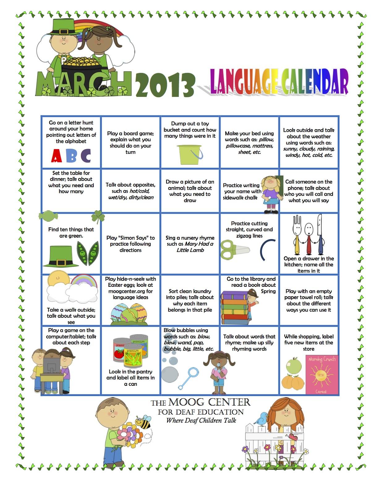 Hearsaylw March Listening Amp Spoken Language Calendar