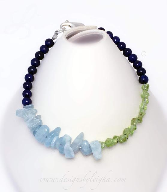 Sapphire, Aquamarine and Peridot Gemstone Birthstone Bracelet