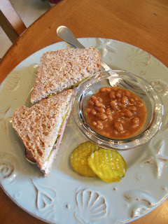 Catsup and Mustard Baked Beans, a slow cooker recipe. Cook a pot of beans weekly.