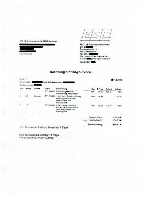 Scan: Rechnung ESC UG / Dez 2018