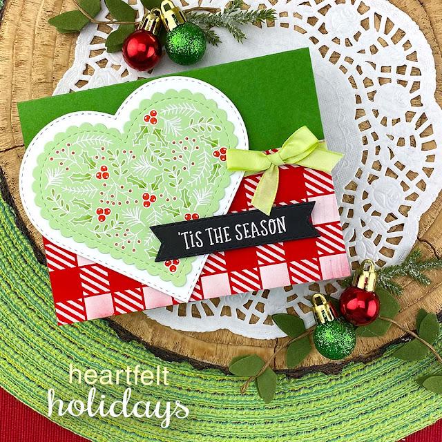 'Tis the Season Christmas Card by Jennifer Jackson | Heartfelt Holidays Stamp Set, Gingham Stencil Banner Trio Die Set and Heart Frames Die Set by Newton's Nook Designs