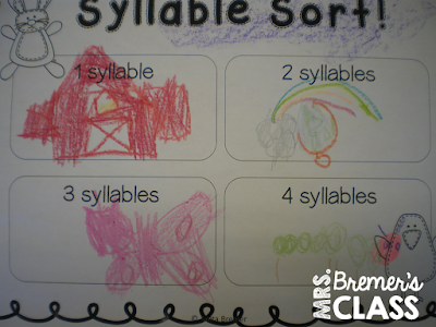 Easter themed syllable sorting literacy center activity to promote phonemic awareness skills in Kindergarten and First Grade