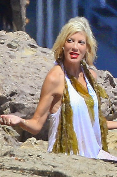 Tori Spelling on the beach in Malibu