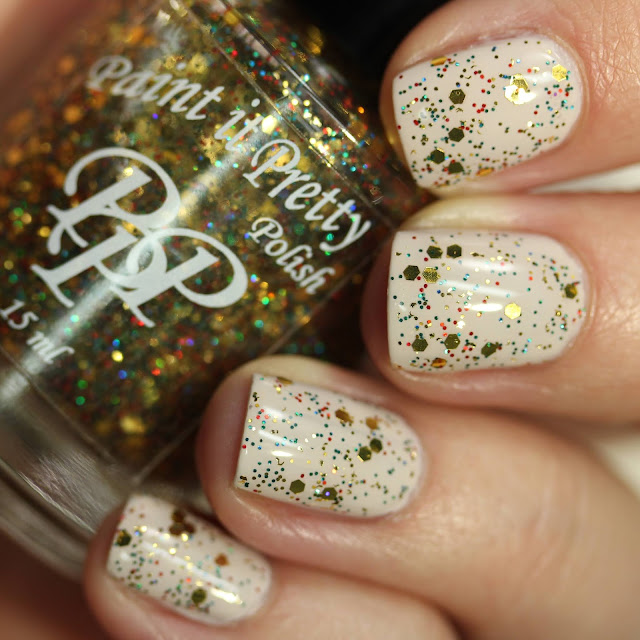 Paint It Pretty Polish Golden Presents glitter swatch