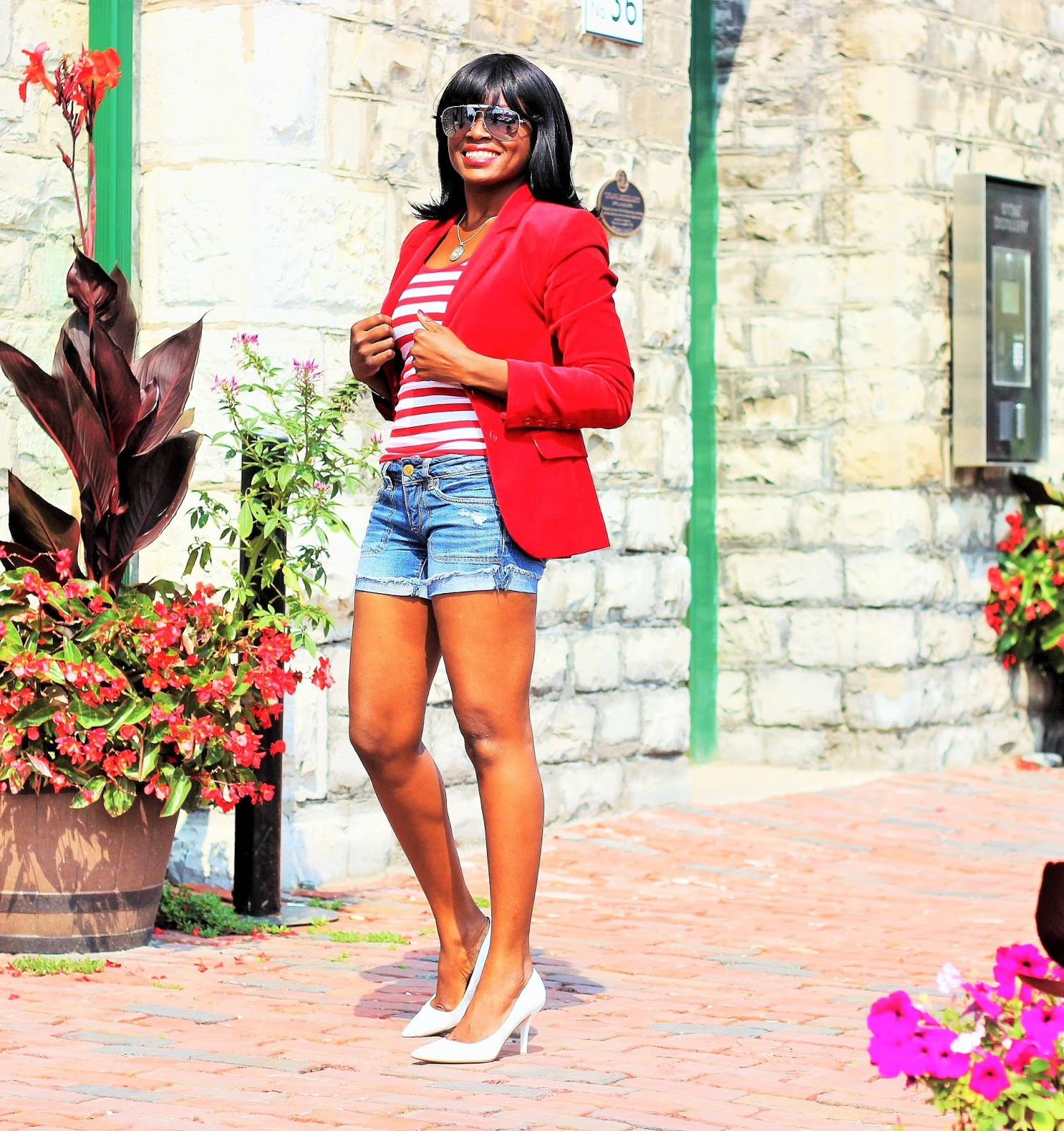 H&M Blazer + Bluenotes Striped Top + Denim Shorts