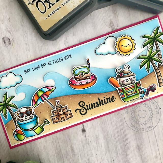 Sunny Studio Stamps: Beach Buddies Beach Babies Tropical Scenes Summer Card by Tammy Stark