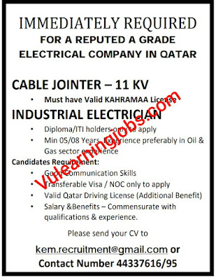 Electrical Company Jobs 2020 In Qatar For Cable Jointer, Industrial Electrician Latest