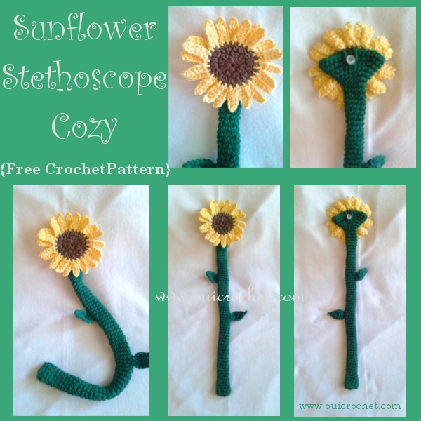 Crochet, Crochet Leaf Applique Pattern, Crochet Sunflower Applique Pattern, Crochet Sunflower Stethoscope Cozy, Free Crochet Pattern, Crochet Stethoscope Cozy,