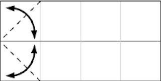 Bước 4: Gấp tạo nếp gấp tờ giấy bằng cách gấp vào rồi mở ra tại vị trí nét đứt.