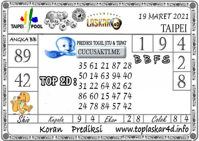 Prediksi Togel TAIPEI LASKAR4D 19 MARET 2021
