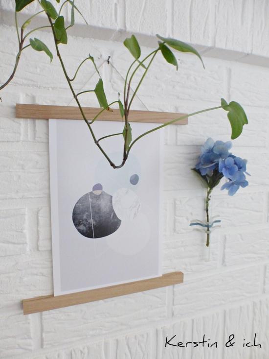 Wanddeko mit Graphic Print, Hortensie und Grünpflanze