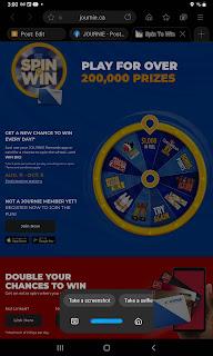2021 Journie Rewards Spin to Win Contest Screenshot