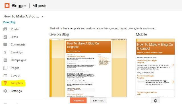 Blogger Template Setting