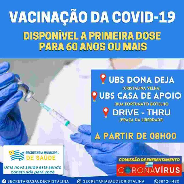 Pessoas com 60 anos ou mais já podem tomar vacina contra o Coronavírus em Cristalina.