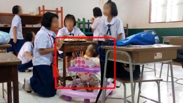 Siswi 10 Tahun Bawa Bayi ke Sekolah, Mengaku Ayahnya Dipenjara dan Diberi Uang Rp 10 Ribu per Hari