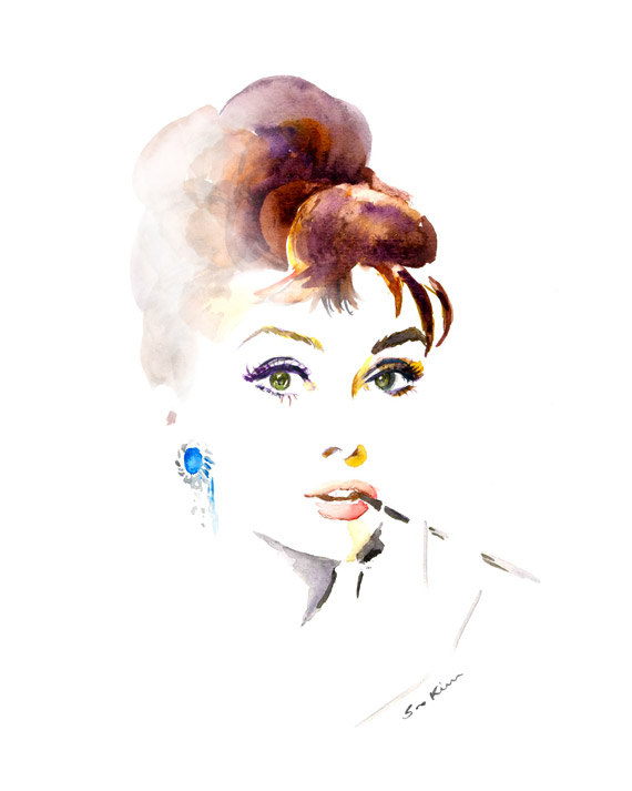 03-Audrey-Hepburn-Breakfast-at-Tiffany-s-Soo-Kim-Celebrity-Watercolor-Portraits-www-designstack-co