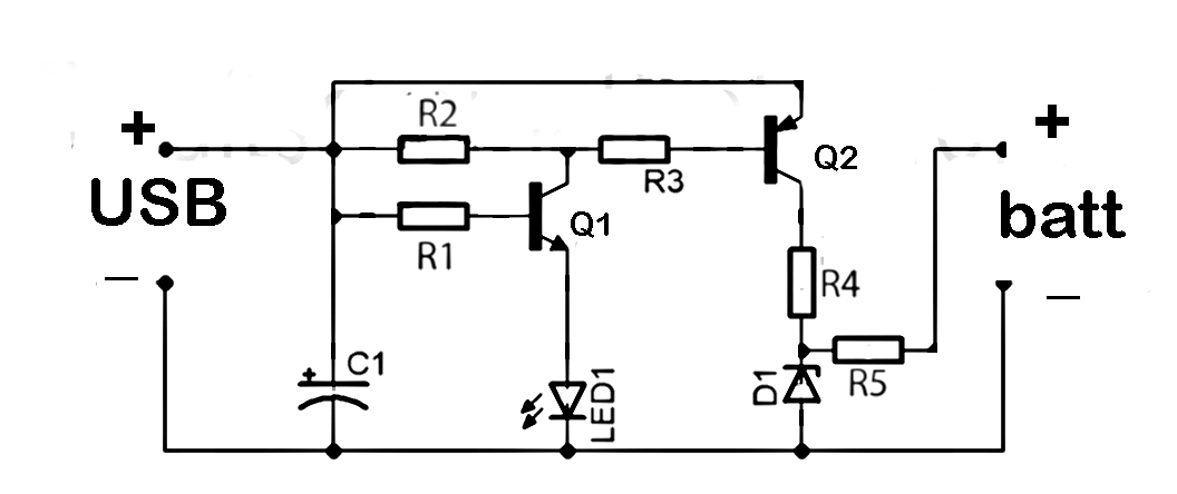 usb to phone battery charger circuit diagrams
