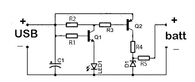 USB battery charger circuit schematics