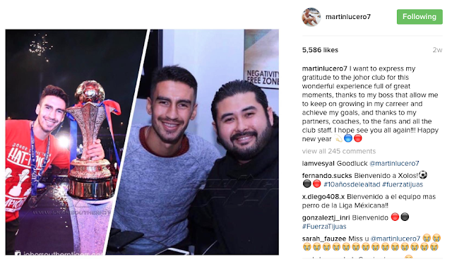 Martin Lucero berterima kasih pada JDT di Instagram