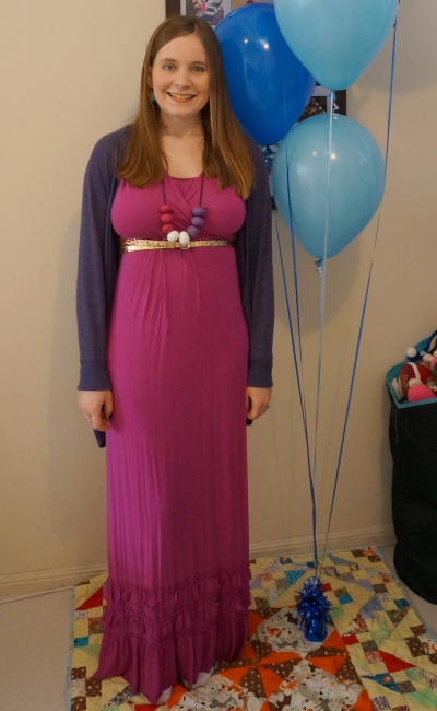 Mothers En Vogue Havana maxi dress with purple cardigan for winter birthday party | Away From Blue blog