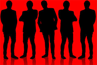 Graphic of men standing in silhouette against a red background