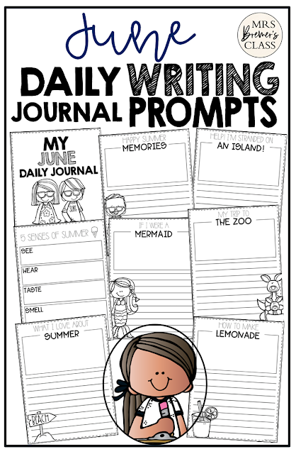 June writing templates for daily journal writing or the writing center in Kindergarten First Grade Second Grade