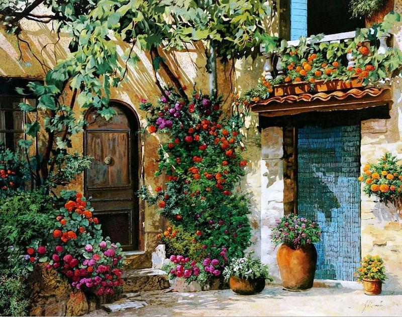 Pintura Moderna Y Fotografía Artística Paisajes Y Vistas Andaluces Bellas Pinturas De Calles Y Entradas Florales