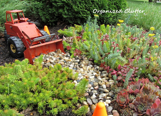 Tonka Front End Loader in a Succulent Garden