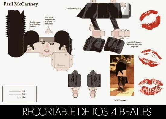 recortables, papel, Beatles, plantillas, manualidades, diy