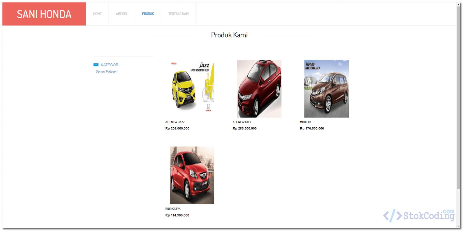 Aplikasi Katalog Mobil Berbasis Web (Codeigniter)