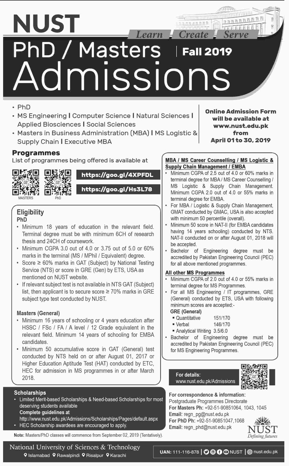 NUST Masters / PhD Admissions Fall 2019 - All Pakistan Exam