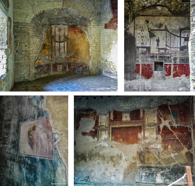 Afrescos romanos em Herculano, Itália