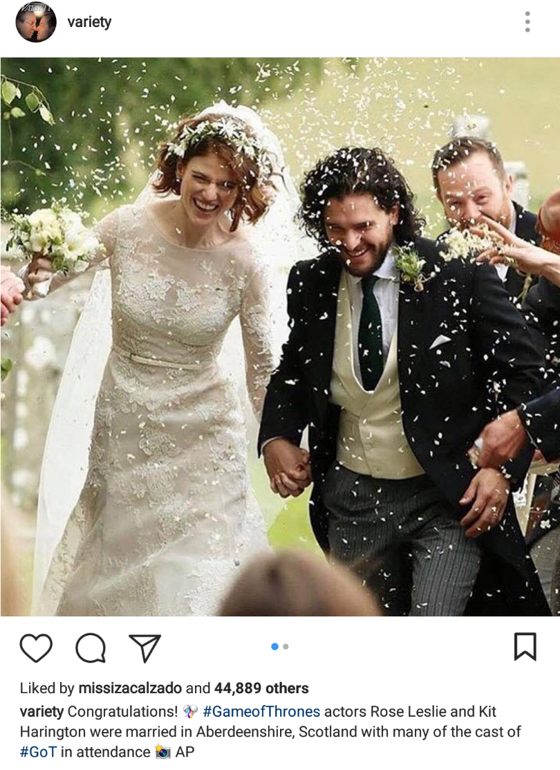 fashion pulis insta scoop game of thrones stars kit harrington and rose leslie wed. Black Bedroom Furniture Sets. Home Design Ideas