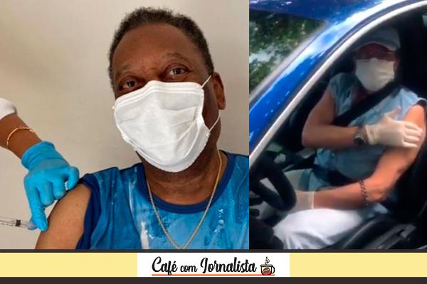 Pelé e Roberto Carlos no momento em que receberam a vacina contra a covid-19
