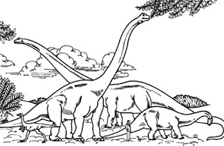 Diplodocus Familly Coloring Sheet