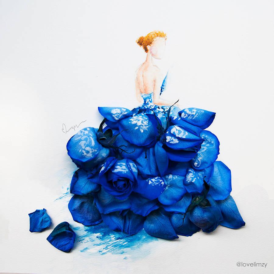 e61d462786 Artista usa flores e ilustração para criar elgantes e belos vestidos ...