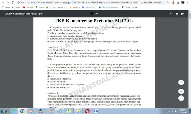 Contoh soal ujian P3K Penyuluh Pertanian dan Kunci Jawaban