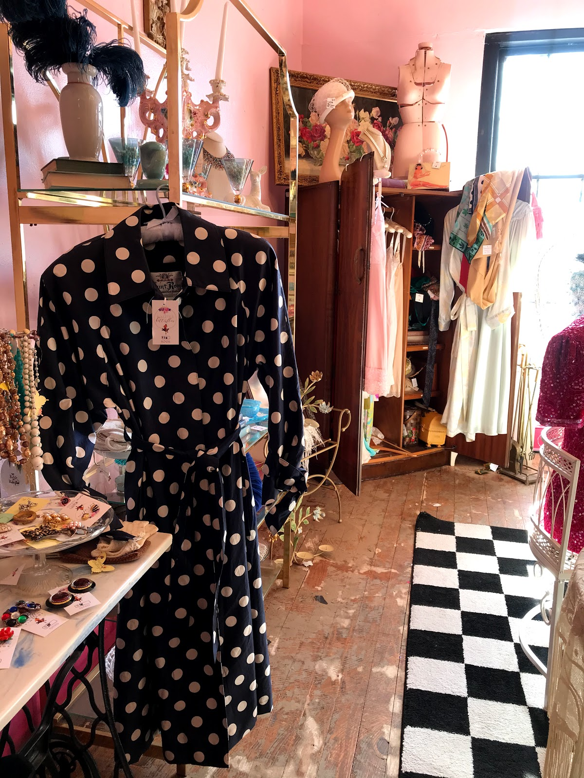 thrift shopping polka dots dresses, scarves, shoes and earrings