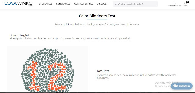Free Colour Blindness test by Coolwinks