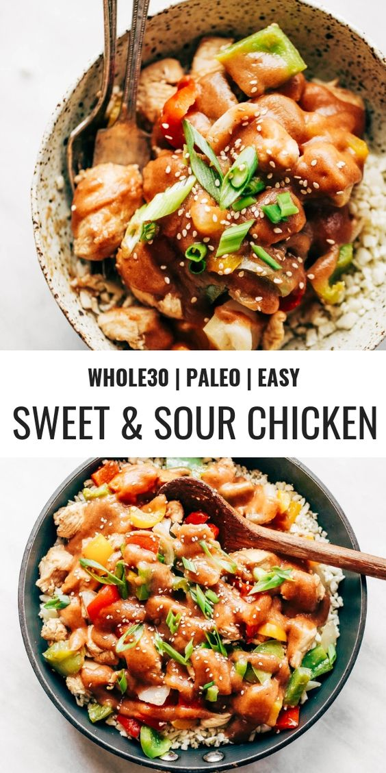 SWEET AND SOUR CHICKEN WITH CAULIFLOWER RICE