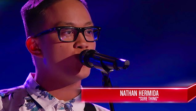 Nathan Hermida, performing 'Sure Thing' on The Voice.