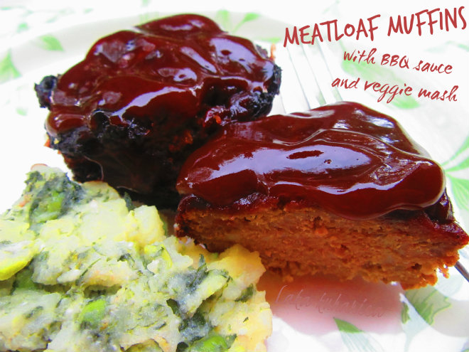 Meatloaf muffins with BBQ sauce and veggie mash by Laka kuharica:  personal sized meatloaf muffins loaded with yummy ingredients!