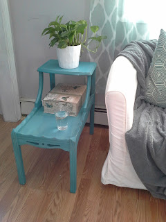 Layered teal turquoise blue green side table