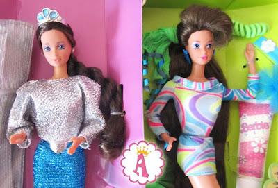 Слева: Barbie Whitney Jewel Secrets 1986. Справа: Whitney Ultra Hair 1991 (Europe)