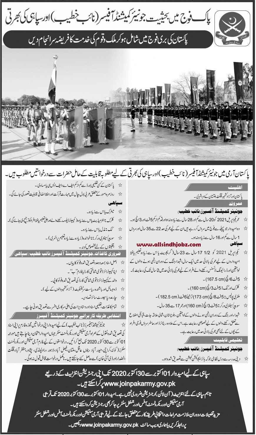 Join Pakistan Army As Naib Khateeb & Constables Jobs 2020 | Sindh Jobs