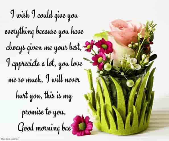 good morning baby love letter with beautiful flowers and promise message
